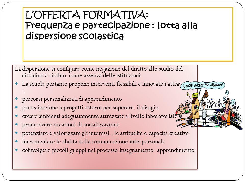 L'OFFERTA FORMATIVA: Frequenza e partecipazione : lotta alla dispersione scolastica La dispersione si configura come negazione del diritto allo studio