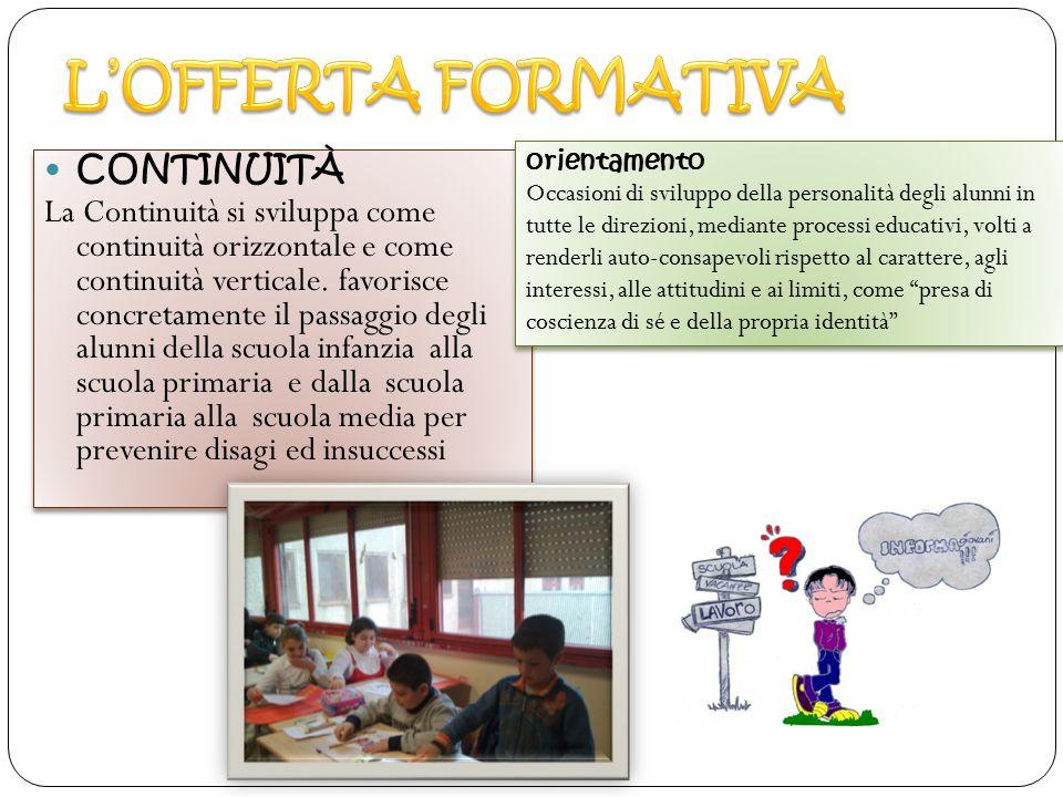 CONTINUITÀ La Continuità si sviluppa come continuità orizzontale e come continuità verticale. favorisce concretamente il passaggio degli alunni della