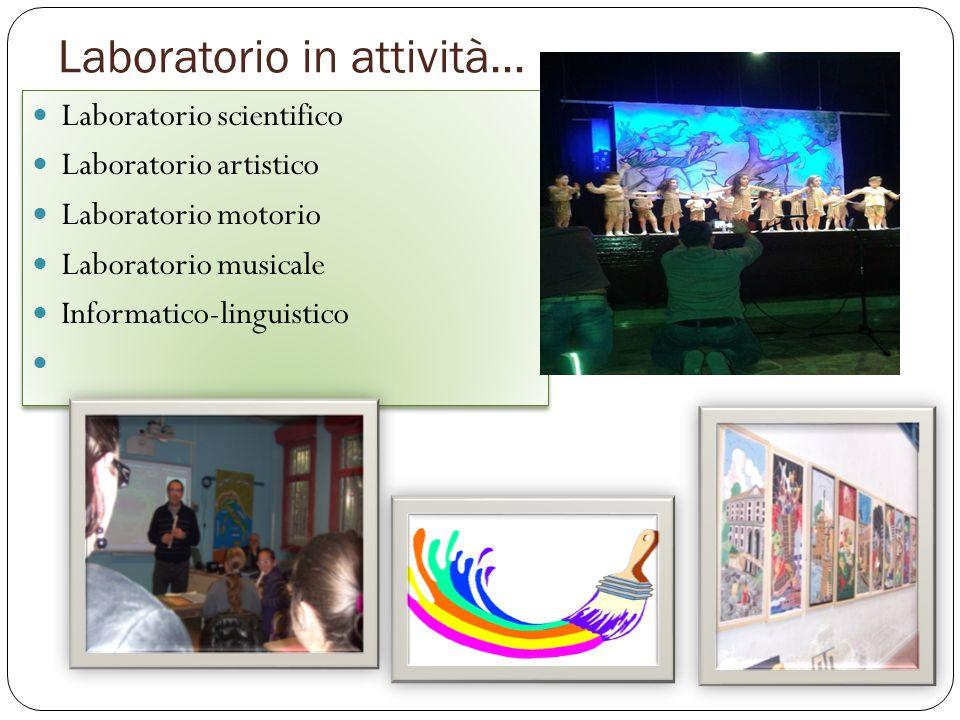 Laboratorio in attività… Laboratorio scientifico Laboratorio artistico Laboratorio motorio Laboratorio musicale Informatico-linguistico Laboratorio sc