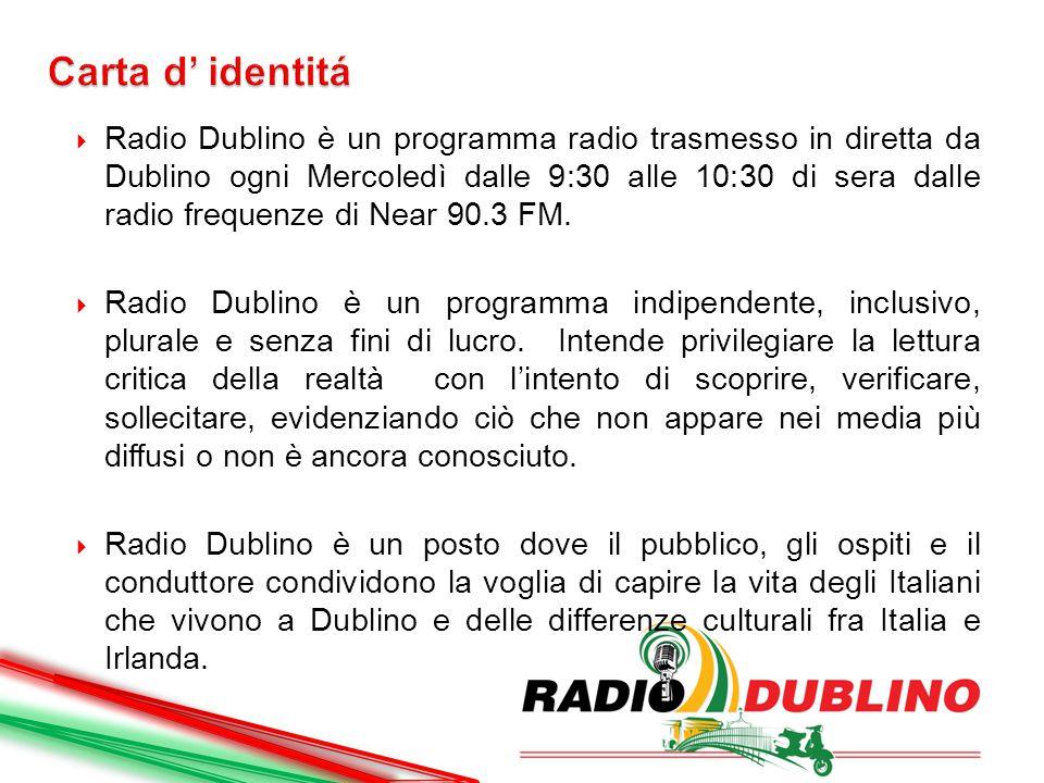  Radio Dublino è un programma radio trasmesso in diretta da Dublino ogni Mercoledì dalle 9:30 alle 10:30 di sera dalle radio frequenze di Near 90.3 F