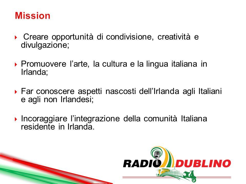  Creare opportunità di condivisione, creatività e divulgazione;  Promuovere l'arte, la cultura e la lingua italiana in Irlanda;  Far conoscere aspetti nascosti dell'Irlanda agli Italiani e agli non Irlandesi;  Incoraggiare l'integrazione della comunità Italiana residente in Irlanda.