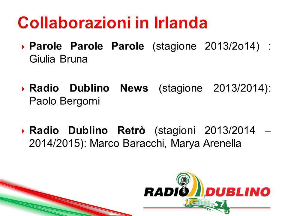  Parole Parole Parole (stagione 2013/2o14) : Giulia Bruna  Radio Dublino News (stagione 2013/2014): Paolo Bergomi  Radio Dublino Retrò (stagioni 20