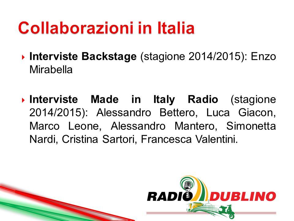  Interviste Backstage (stagione 2014/2015): Enzo Mirabella  Interviste Made in Italy Radio (stagione 2014/2015): Alessandro Bettero, Luca Giacon, Marco Leone, Alessandro Mantero, Simonetta Nardi, Cristina Sartori, Francesca Valentini.