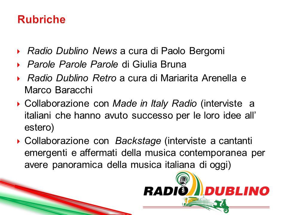  Radio Dublino News a cura di Paolo Bergomi  Parole Parole Parole di Giulia Bruna  Radio Dublino Retro a cura di Mariarita Arenella e Marco Baracch