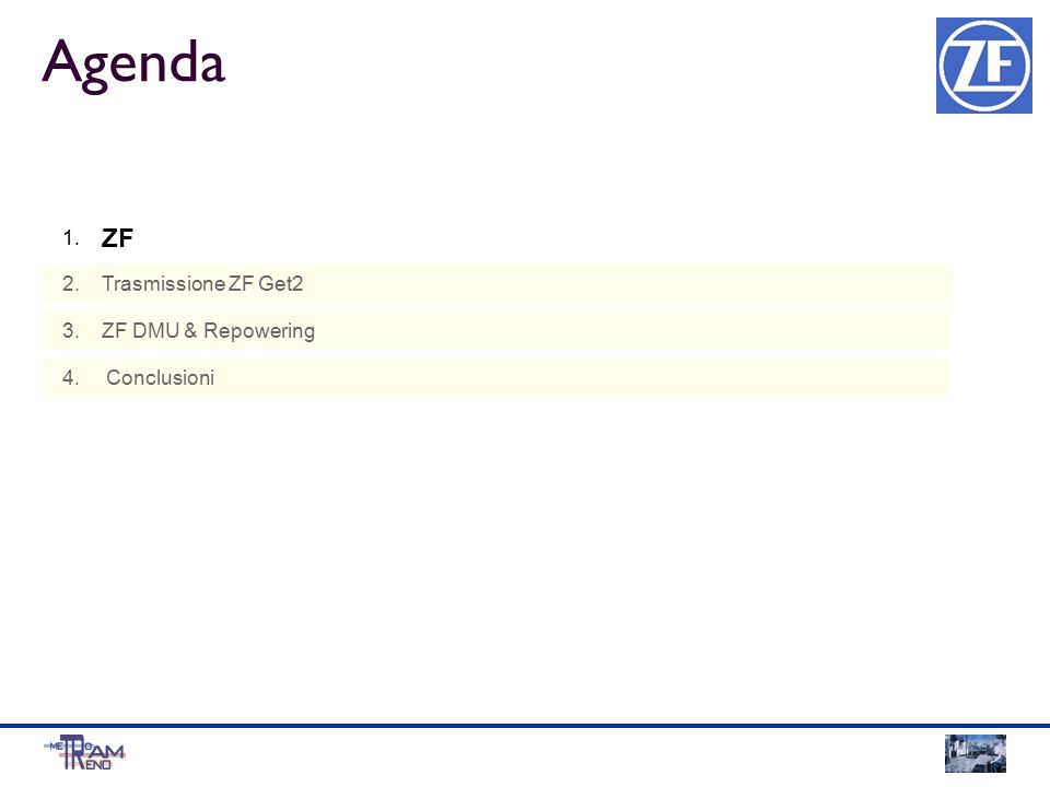 Agenda 1. 2. 3. 4. Trasmissione ZF Get2 ZF DMU & Repowering Conclusioni ZF