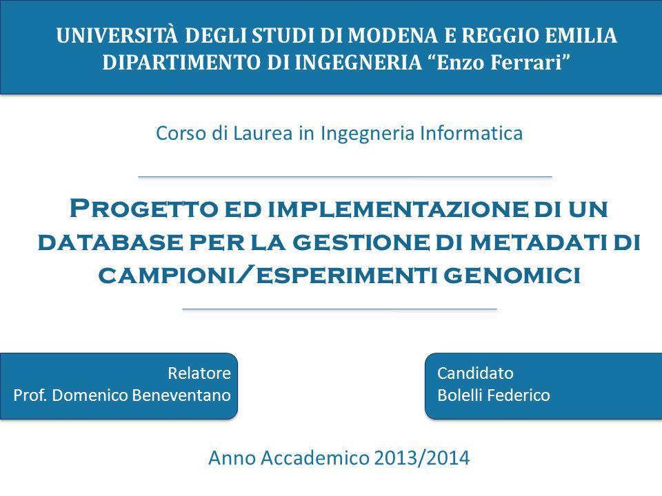 """UNIVERSITÀ DEGLI STUDI DI MODENA E REGGIO EMILIA DIPARTIMENTO DI INGEGNERIA """"Enzo Ferrari"""" Corso di Laurea in Ingegneria Informatica Anno Accademico 2"""