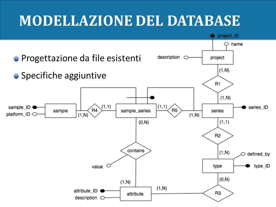 MODELLAZIONE DEL DATABASE Progettazione da file esistenti Specifiche aggiuntive