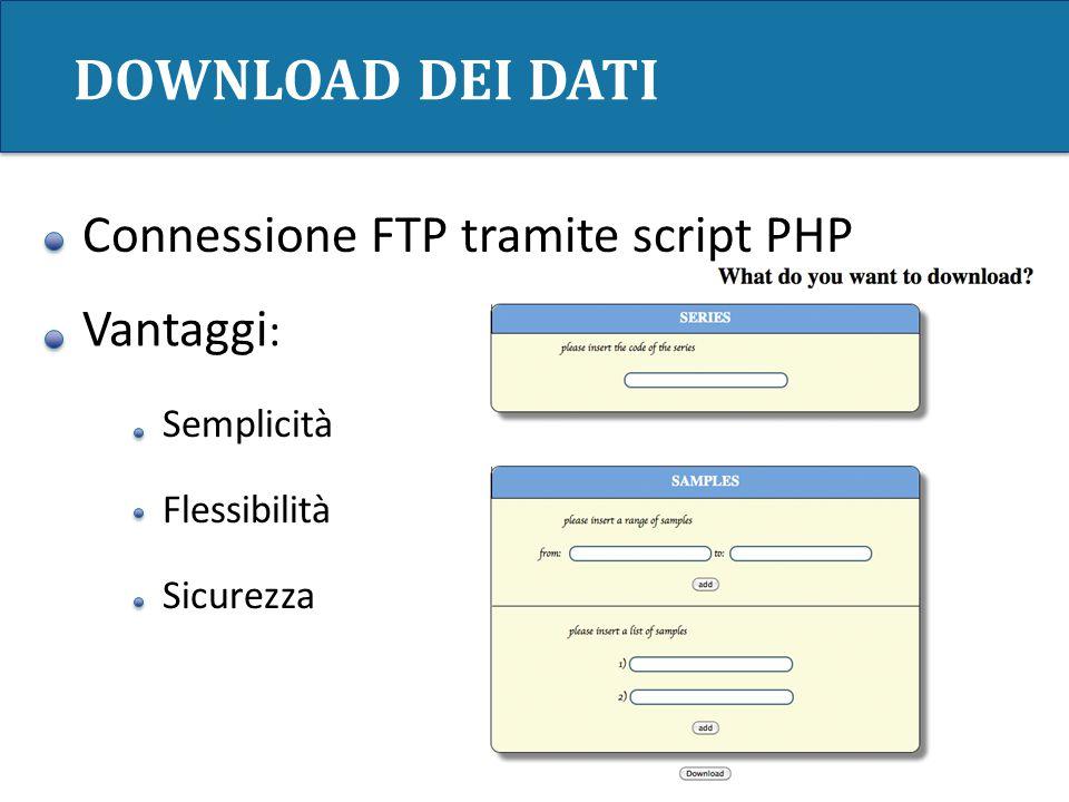 DOWNLOAD DEI DATI Vantaggi : Semplicità Flessibilità Sicurezza Connessione FTP tramite script PHP