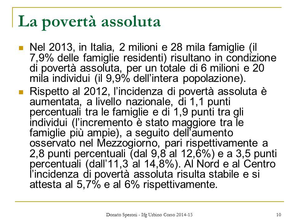 La povertà assoluta Nel 2013, in Italia, 2 milioni e 28 mila famiglie (il 7,9% delle famiglie residenti) risultano in condizione di povertà assoluta, per un totale di 6 milioni e 20 mila individui (il 9,9% dell'intera popolazione).