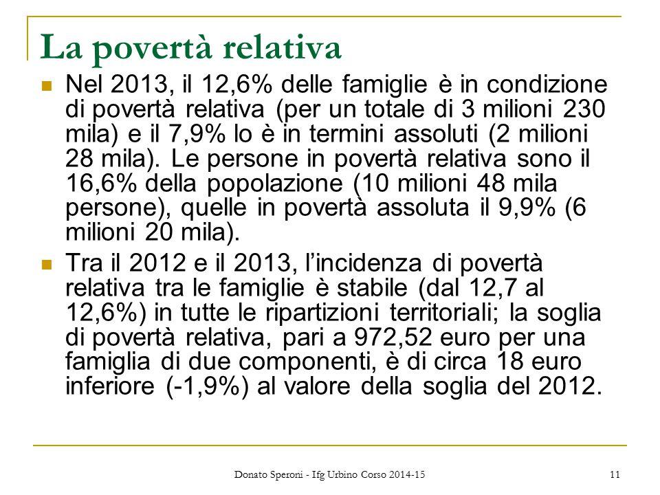 La povertà relativa Nel 2013, il 12,6% delle famiglie è in condizione di povertà relativa (per un totale di 3 milioni 230 mila) e il 7,9% lo è in termini assoluti (2 milioni 28 mila).