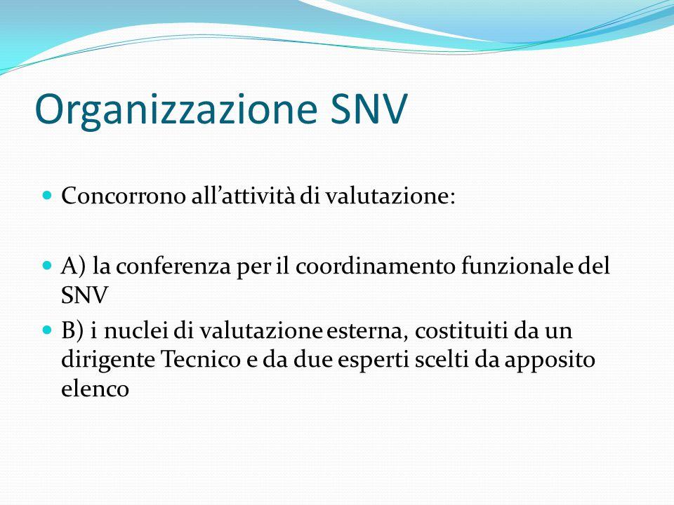 Organizzazione SNV Concorrono all'attività di valutazione: A) la conferenza per il coordinamento funzionale del SNV B) i nuclei di valutazione esterna, costituiti da un dirigente Tecnico e da due esperti scelti da apposito elenco