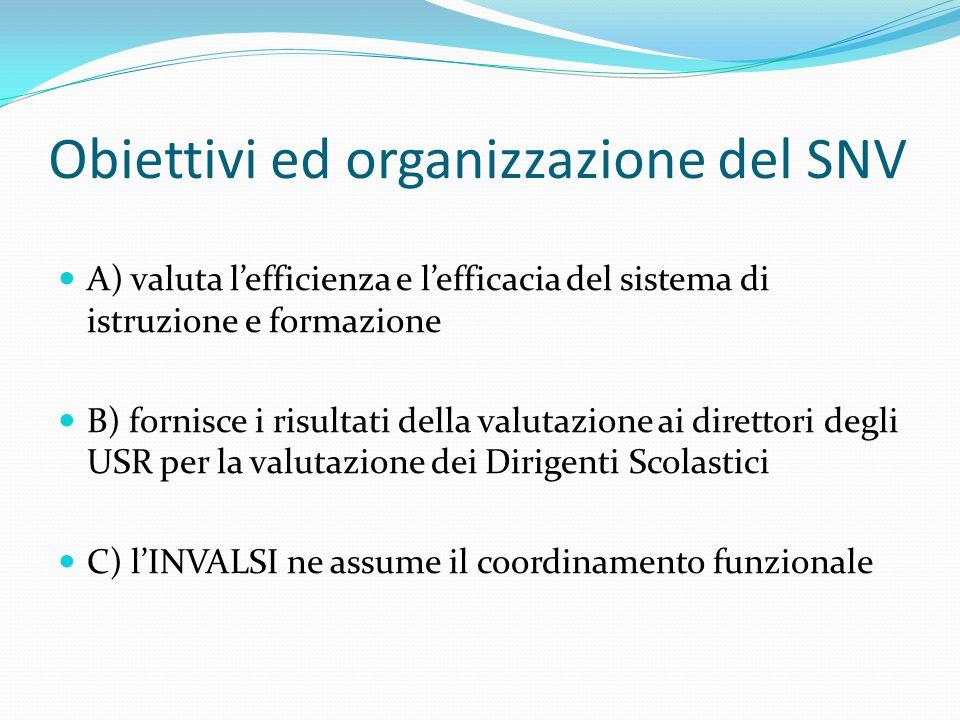 Obiettivi ed organizzazione del SNV A) valuta l'efficienza e l'efficacia del sistema di istruzione e formazione B) fornisce i risultati della valutazione ai direttori degli USR per la valutazione dei Dirigenti Scolastici C) l'INVALSI ne assume il coordinamento funzionale