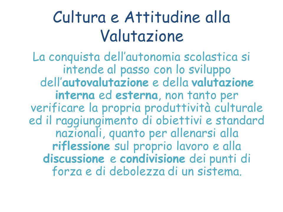 Cultura e Attitudine alla Valutazione La conquista dell'autonomia scolastica si intende al passo con lo sviluppo dell'autovalutazione e della valutazi