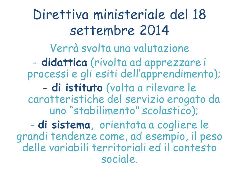 Direttiva ministeriale del 18 settembre 2014 Verrà svolta una valutazione -didattica (rivolta ad apprezzare i processi e gli esiti dell'apprendimento)