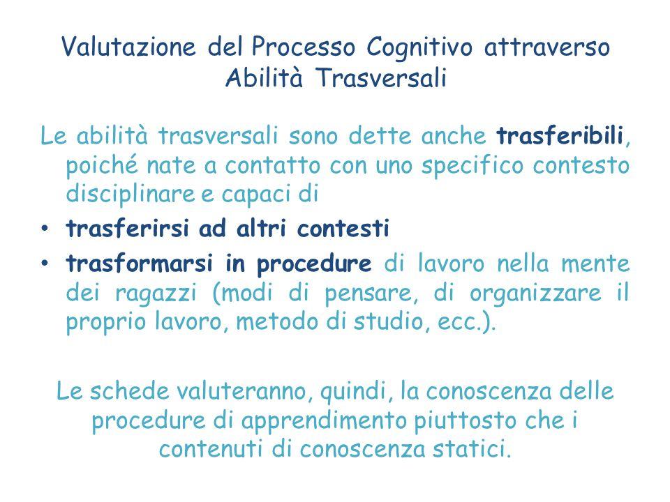 Valutazione del Processo Cognitivo attraverso Abilità Trasversali Le abilità trasversali sono dette anche trasferibili, poiché nate a contatto con uno