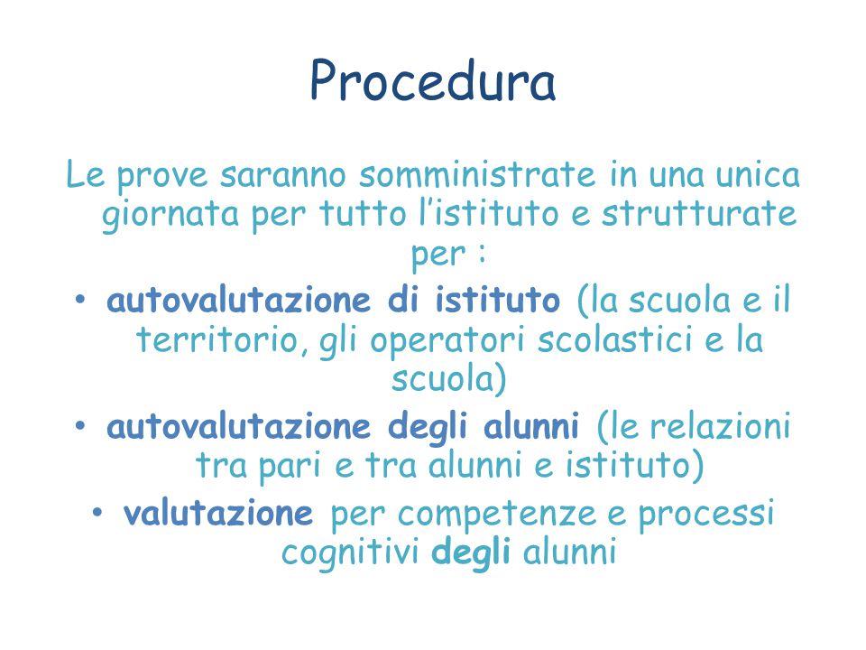 Procedura Le prove saranno somministrate in una unica giornata per tutto l'istituto e strutturate per : autovalutazione di istituto (la scuola e il te