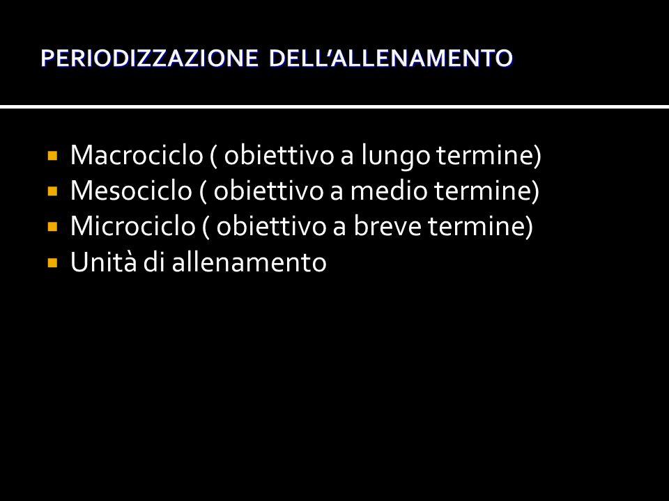  Macrociclo ( obiettivo a lungo termine)  Mesociclo ( obiettivo a medio termine)  Microciclo ( obiettivo a breve termine)  Unità di allenamento
