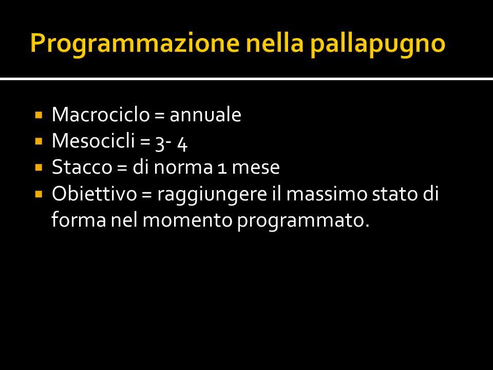  Macrociclo = annuale  Mesocicli = 3- 4  Stacco = di norma 1 mese  Obiettivo = raggiungere il massimo stato di forma nel momento programmato.