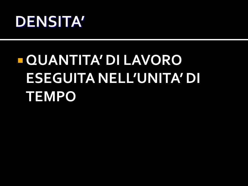  QUANTITA' DI LAVORO ESEGUITA NELL'UNITA' DI TEMPO