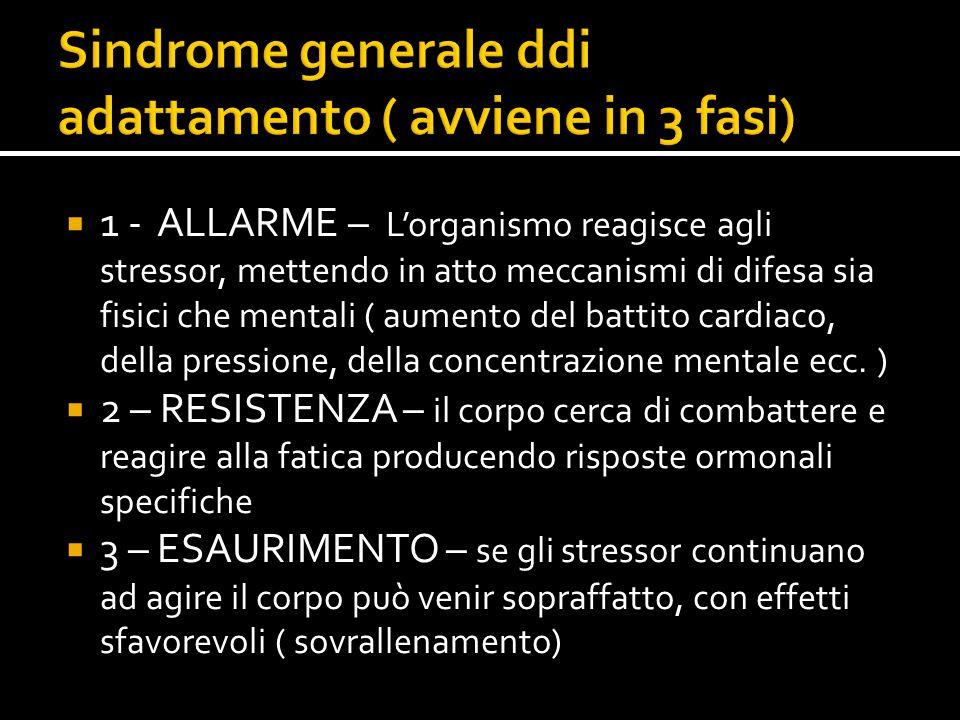  1 - ALLARME – L'organismo reagisce agli stressor, mettendo in atto meccanismi di difesa sia fisici che mentali ( aumento del battito cardiaco, della