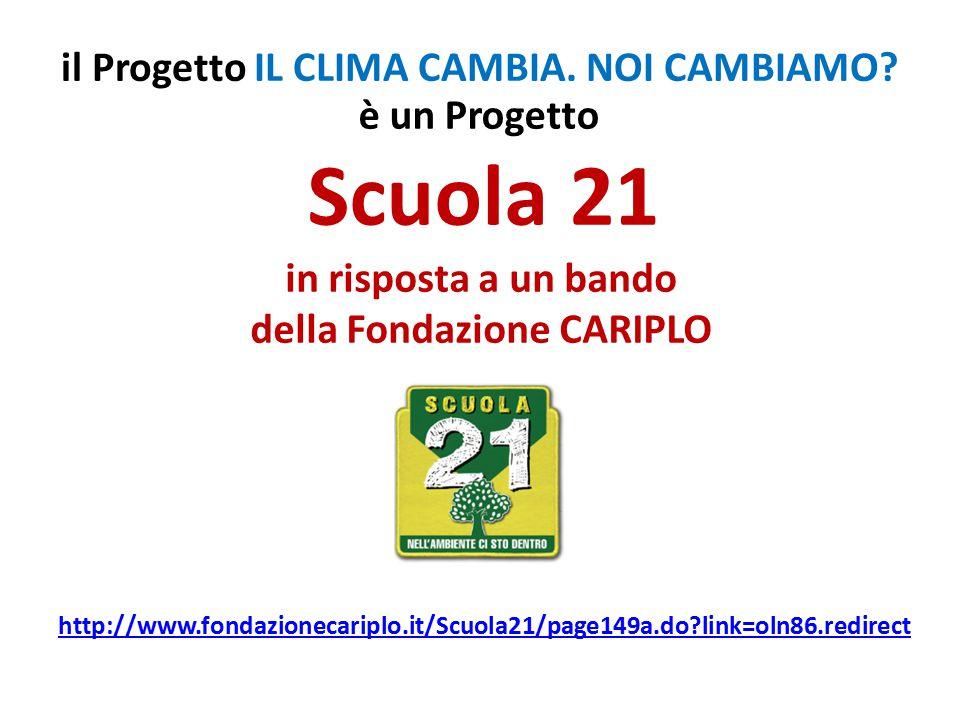 in risposta a un bando della Fondazione CARIPLO è un Progetto Scuola 21 http://www.fondazionecariplo.it/Scuola21/page149a.do?link=oln86.redirect il Progetto IL CLIMA CAMBIA.