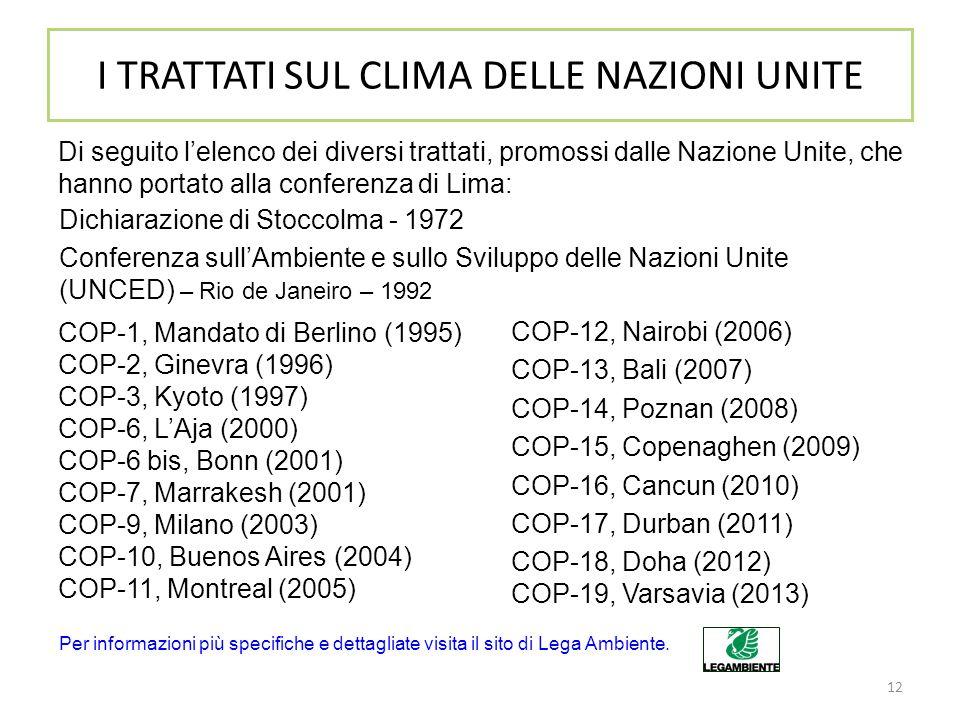 12 I TRATTATI SUL CLIMA DELLE NAZIONI UNITE Di seguito l'elenco dei diversi trattati, promossi dalle Nazione Unite, che hanno portato alla conferenza