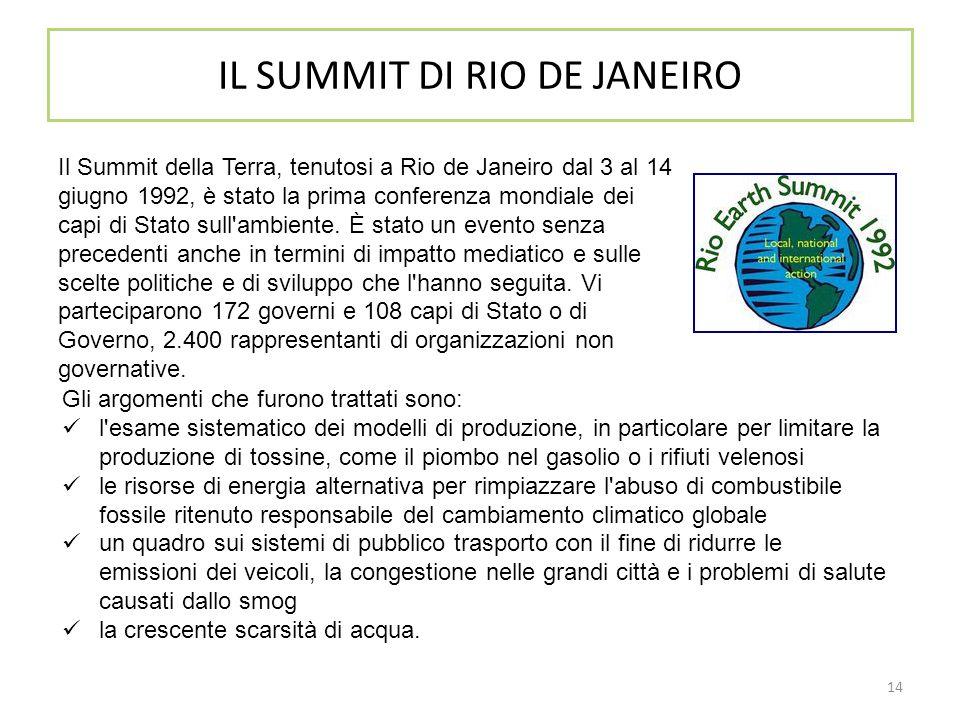 14 IL SUMMIT DI RIO DE JANEIRO Il Summit della Terra, tenutosi a Rio de Janeiro dal 3 al 14 giugno 1992, è stato la prima conferenza mondiale dei capi