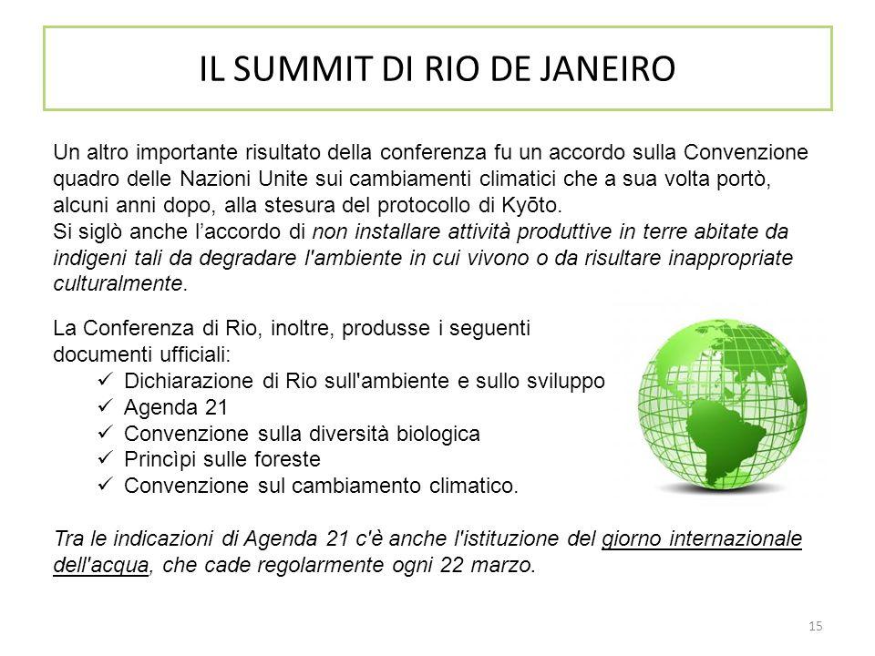 15 IL SUMMIT DI RIO DE JANEIRO Un altro importante risultato della conferenza fu un accordo sulla Convenzione quadro delle Nazioni Unite sui cambiamen