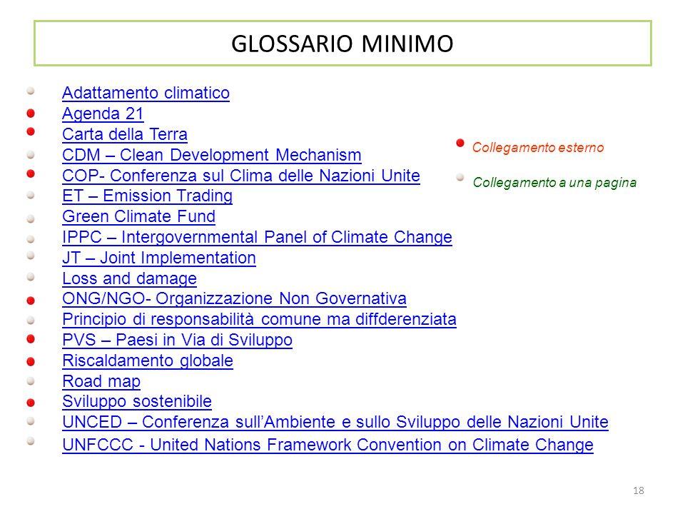 18 GLOSSARIO MINIMO Adattamento climatico Agenda 21 Carta della Terra CDM – Clean Development Mechanism COP- Conferenza sul Clima delle Nazioni Unite