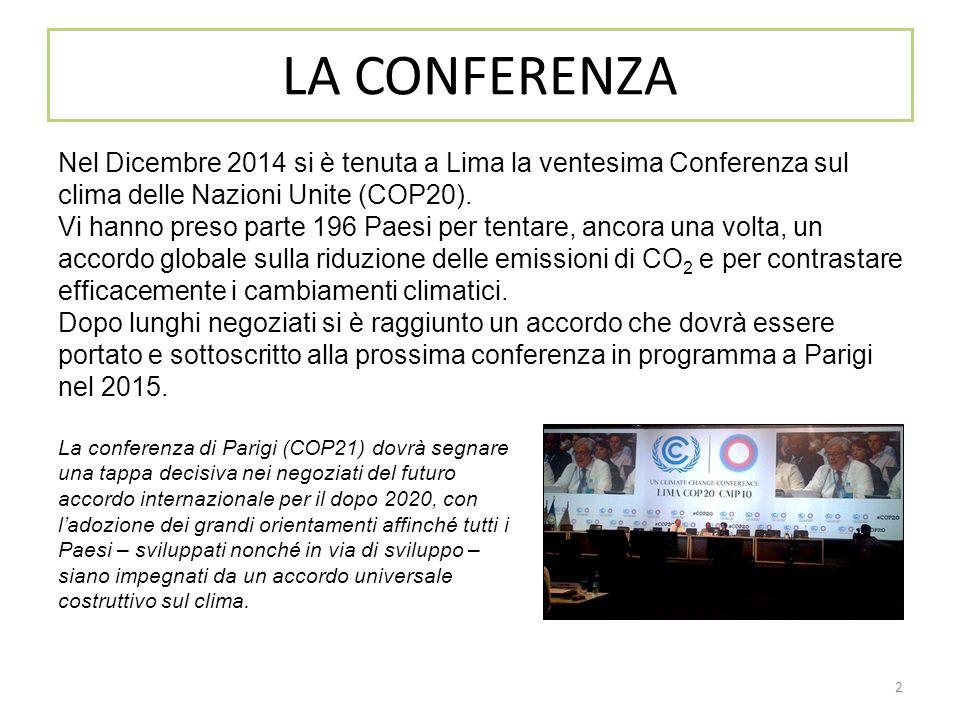 2 LA CONFERENZA Nel Dicembre 2014 si è tenuta a Lima la ventesima Conferenza sul clima delle Nazioni Unite (COP20). Vi hanno preso parte 196 Paesi per