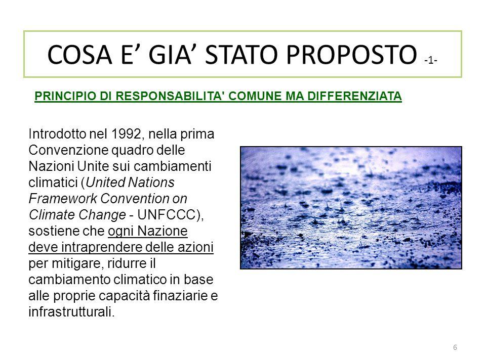 6 COSA E' GIA' STATO PROPOSTO -1- Introdotto nel 1992, nella prima Convenzione quadro delle Nazioni Unite sui cambiamenti climatici (United Nations Fr