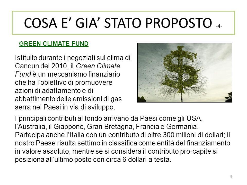 9 Istituito durante i negoziati sul clima di Cancun del 2010, il Green Climate Fund è un meccanismo finanziario che ha l'obiettivo di promuovere azion
