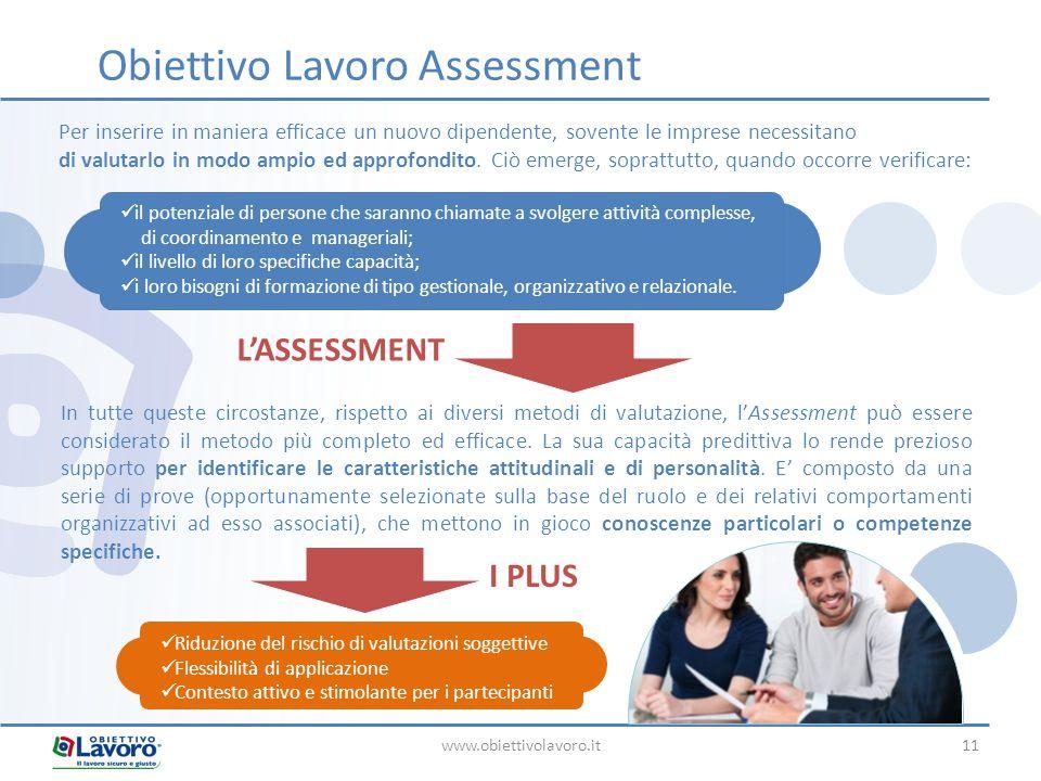 www.obiettivolavoro.it11 Obiettivo Lavoro Assessment Per inserire in maniera efficace un nuovo dipendente, sovente le imprese necessitano di valutarlo in modo ampio ed approfondito.