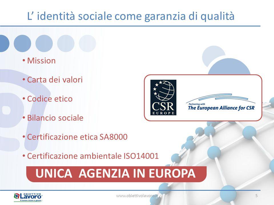 www.obiettivolavoro.it5 Mission Carta dei valori Codice etico Bilancio sociale Certificazione etica SA8000 Certificazione ambientale ISO14001 L' ident