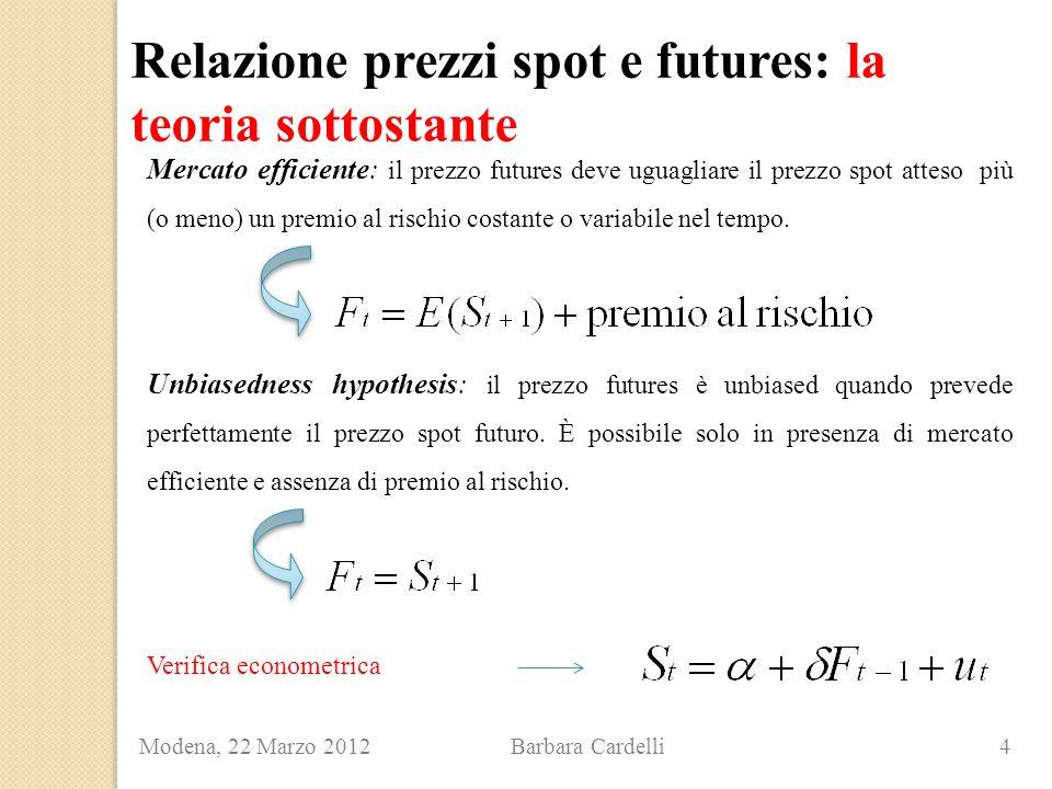 Relazione prezzi spot e futures: la teoria sottostante Modena, 22 Marzo 2012 Barbara Cardelli 4 Mercato efficiente: il prezzo futures deve uguagliare il prezzo spot atteso più (o meno) un premio al rischio costante o variabile nel tempo.
