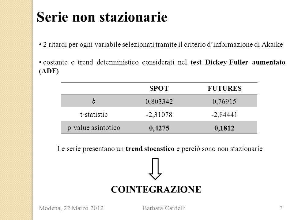 Serie non stazionarie Modena, 22 Marzo 2012 Barbara Cardelli 7 COINTEGRAZIONE 2 ritardi per ogni variabile selezionati tramite il criterio d'informazione di Akaike costante e trend deterministico considerati nel test Dickey-Fuller aumentato (ADF) SPOTFUTURES  0,8033420,76915 t-statistic -2,31078-2,84441 p-value asintotico 0,42750,1812 Le serie presentano un trend stocastico e perciò sono non stazionarie