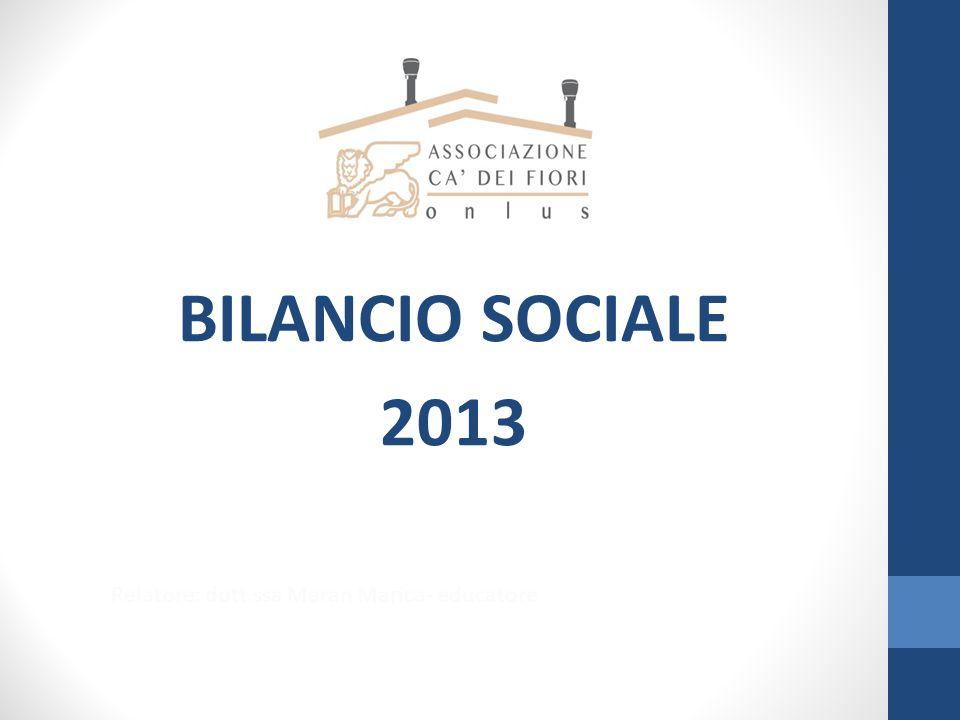 BILANCIO SOCIALE 2013 Relatore: dott.ssa Maran Marica- educatore