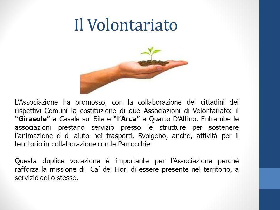 Il Volontariato L'Associazione ha promosso, con la collaborazione dei cittadini dei rispettivi Comuni la costituzione di due Associazioni di Volontariato: il Girasole a Casale sul Sile e l'Arca a Quarto D'Altino.