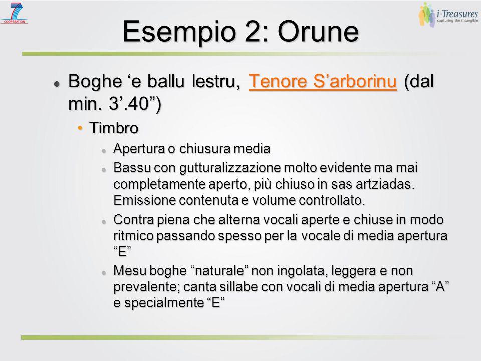 Esempio 2: Orune Boghe 'e ballu lestru, Tenore S'arborinu (dal min.