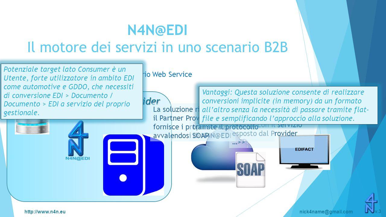http://www.n4n.eunick4name@gmail.com v.3 N4N@EDI Il motore dei servizi in uno scenario B2B Scenario Web Service Partner Provider La soluzione risiede c/o il Partner Provider che fornisce i propri servizi avvalendosi di N4N@EDI L'applicazione del Partner Consumer dialoga con il servizio esposto dal Provider …>> tramite il protocollo SOAP Potenziale target lato Consumer è un Utente, forte utilizzatore in ambito EDI come automotive e GDDO, che necessiti di conversione EDI > Documento / Documento > EDI a servizio del proprio gestionale.
