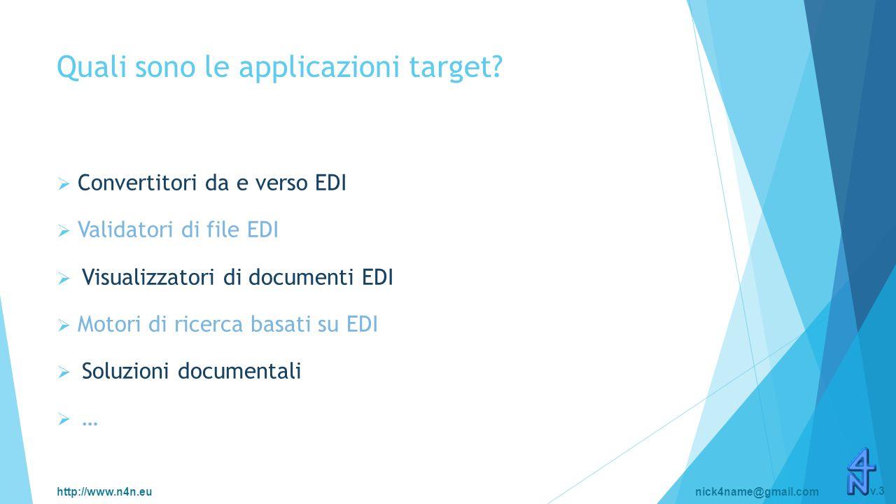 http://www.n4n.eunick4name@gmail.com v.3 Quali sono le applicazioni target?  Convertitori da e verso EDI  Validatori di file EDI  Visualizzatori di