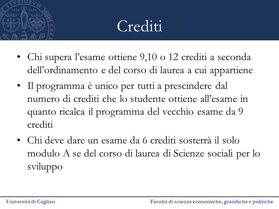 Università di Cagliari Facoltà di scienze economiche, giuridiche e politiche Crediti Chi supera l'esame ottiene 9,10 o 12 crediti a seconda dell'ordin