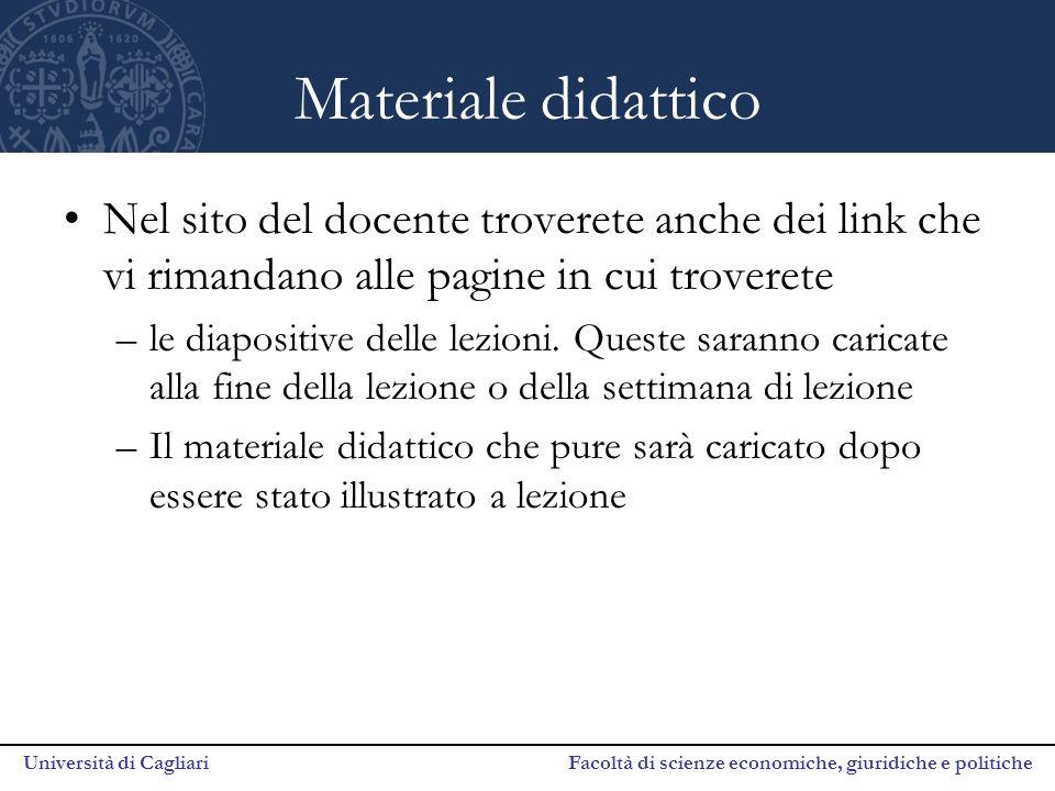 Università di Cagliari Facoltà di scienze economiche, giuridiche e politiche Materiale didattico Nel sito del docente troverete anche dei link che vi