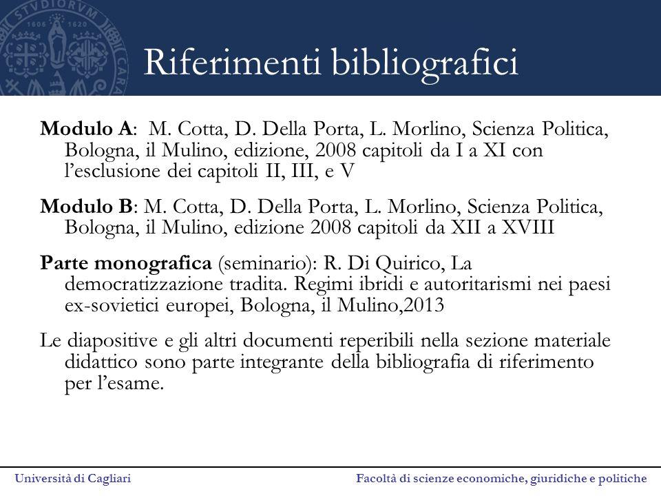 Università di Cagliari Facoltà di scienze economiche, giuridiche e politiche Riferimenti bibliografici Modulo A: M. Cotta, D. Della Porta, L. Morlino,
