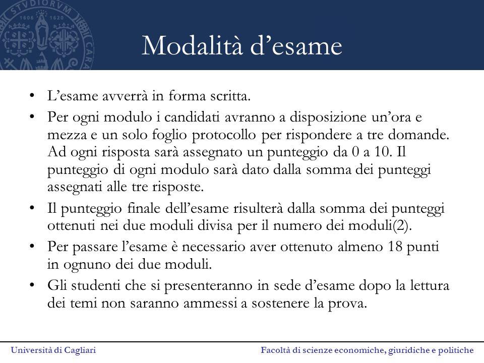 Università di Cagliari Facoltà di scienze economiche, giuridiche e politiche Modalità d'esame L'esame avverrà in forma scritta. Per ogni modulo i cand