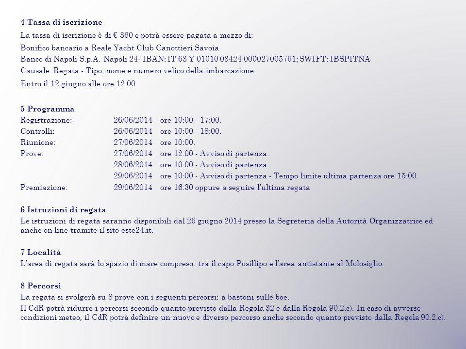 4 Tassa di iscrizione La tassa di iscrizione è di € 360 e potrà essere pagata a mezzo di: Bonifico bancario a Reale Yacht Club Canottieri Savoia Banco di Napoli S.p.A.