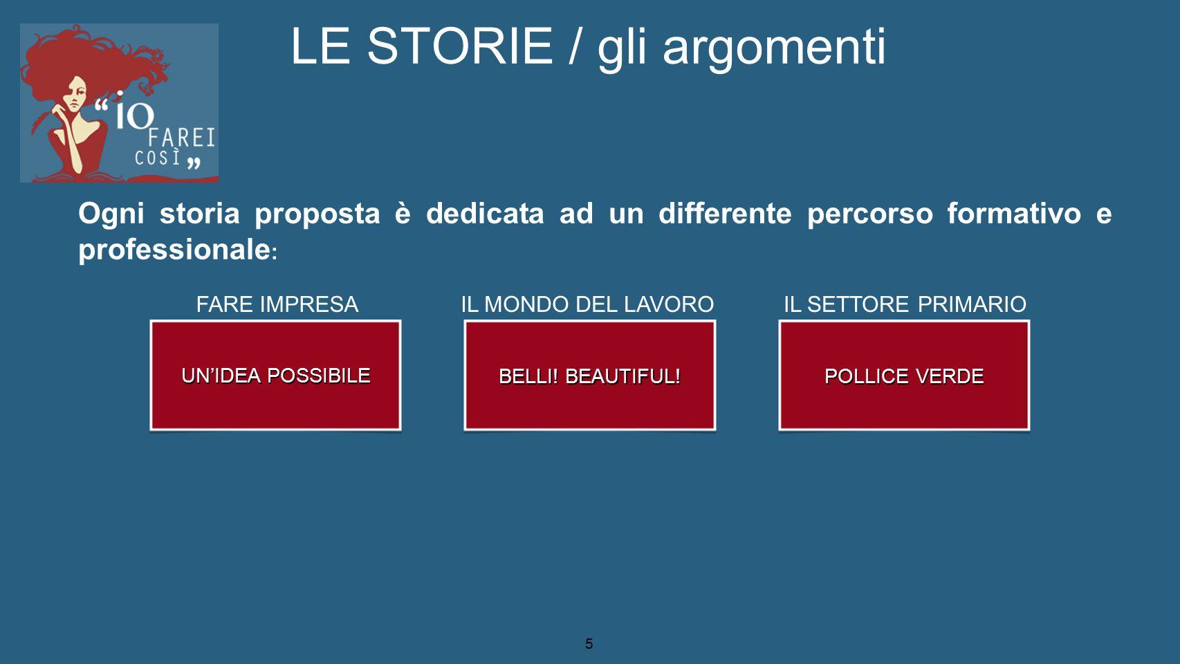 5 LE STORIE / gli argomenti UN'IDEA POSSIBILE BELLI! BEAUTIFUL! POLLICE VERDE Ogni storia proposta è dedicata ad un differente percorso formativo e pr