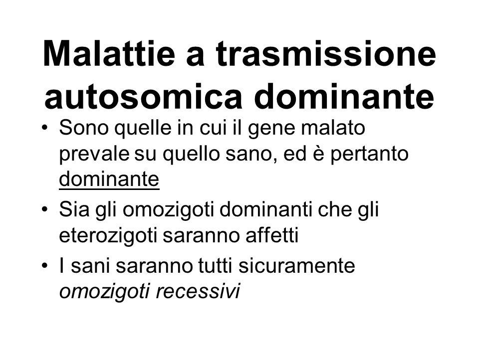 Malattie a trasmissione autosomica dominante Sono quelle in cui il gene malato prevale su quello sano, ed è pertanto dominante Sia gli omozigoti domin