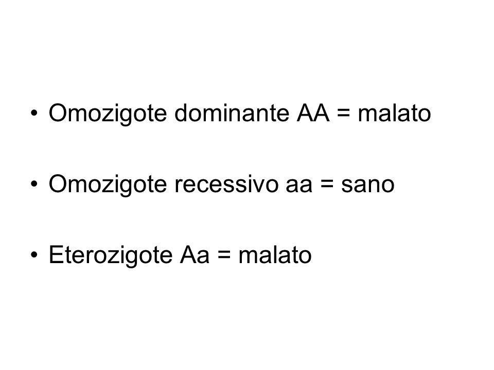 Omozigote dominante AA = malato Omozigote recessivo aa = sano Eterozigote Aa = malato