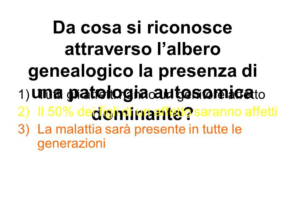 Da cosa si riconosce attraverso l'albero genealogico la presenza di una patologia autosomica dominante? 1)Tutti gli affetti hanno un genitore affetto
